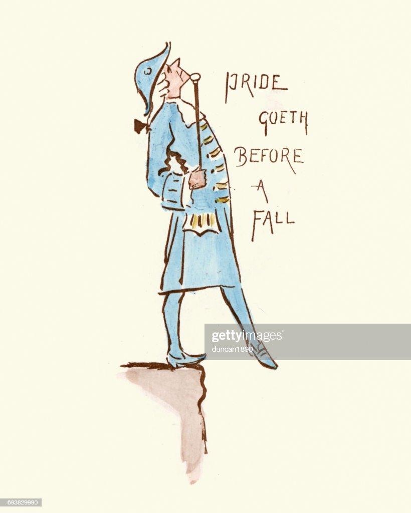 Victorian satirical cartoon - Pride goeth before a fall : stock illustration