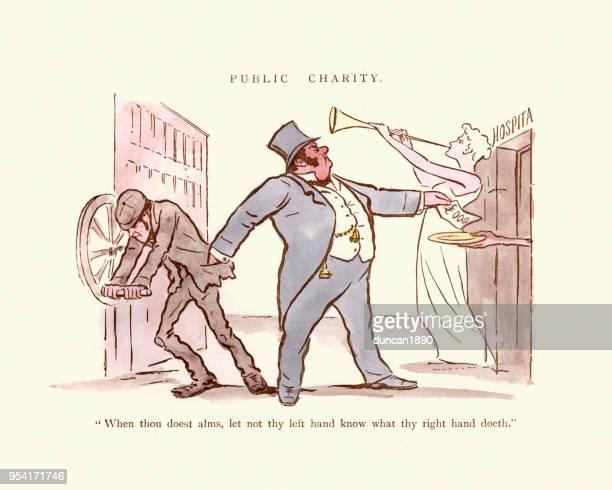Victorian satirical cartoon,  Public Charity