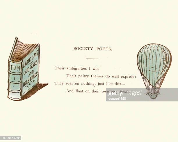 Victorian satirical cartoon, Society Poets full of Hot Air