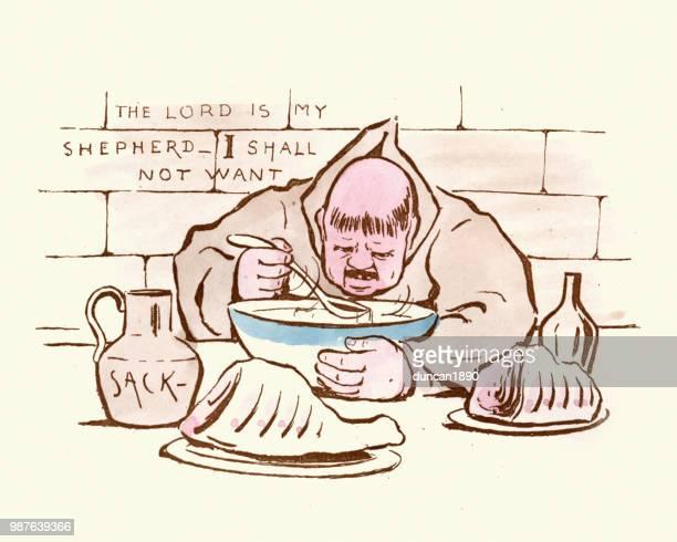 ビクトリア朝の風刺漫画貪欲な修道士