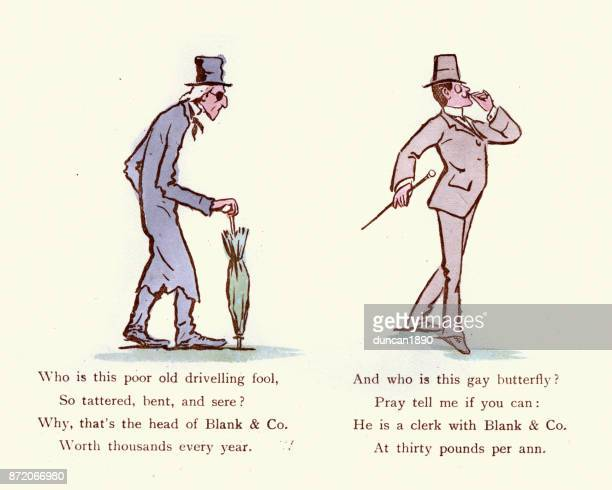 Victorian satirical cartoon, The Miser and the Dandy