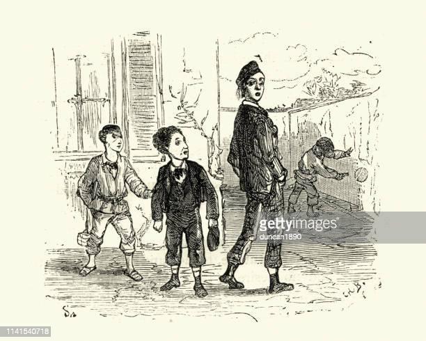 ilustraciones, imágenes clip art, dibujos animados e iconos de stock de niños de la escuela victoriana jugando en el patio 19th siglo - bullying escolar