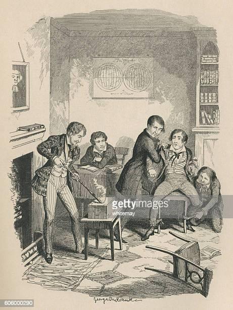 ilustraciones, imágenes clip art, dibujos animados e iconos de stock de victorian schoolboy bullies - bullying escolar