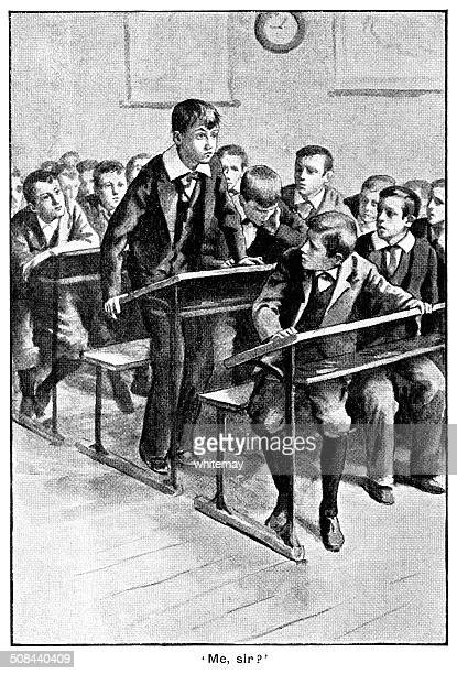Victorian schoolboy in trouble in class
