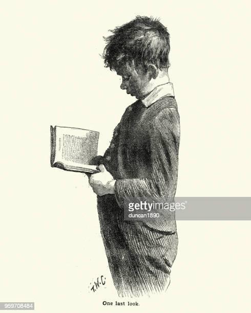 Victorian schoolboy reading a book, 19th Century
