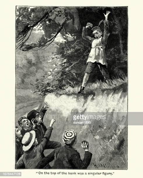 ilustraciones, imágenes clip art, dibujos animados e iconos de stock de victorianos escolares peleando, siglo xix - bullying escolar