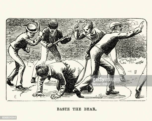 victorian schoolboys playing baste the bear playground - teasing stock illustrations, clip art, cartoons, & icons