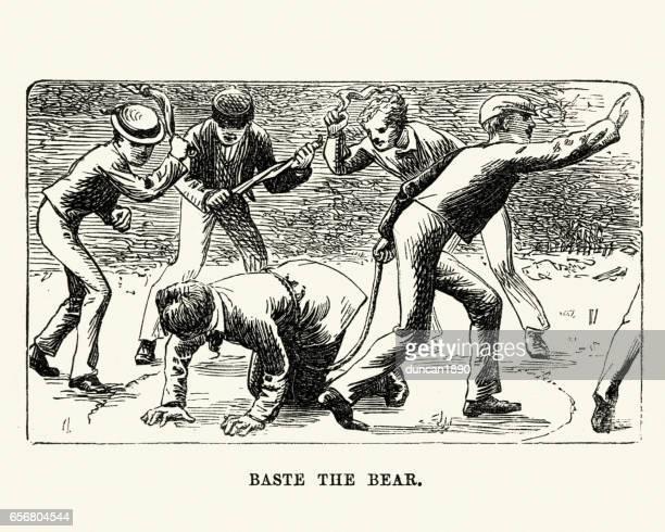 ilustraciones, imágenes clip art, dibujos animados e iconos de stock de victorianos colegiales jugando hilvanar el patio oso - bullying escolar