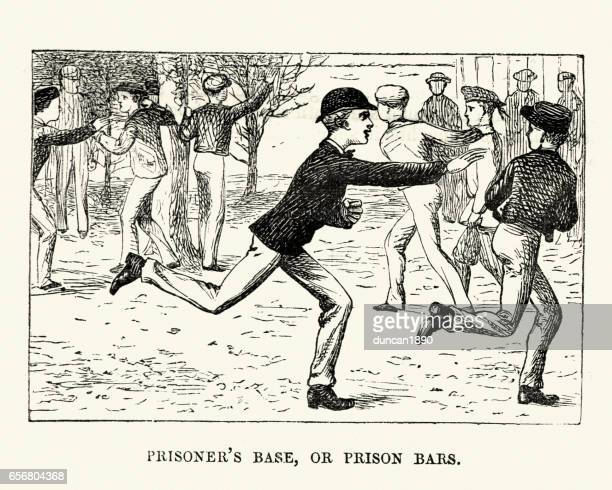 Victorian schoolboys playing tag in the playground