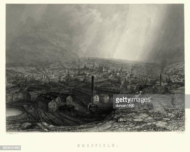 ilustraciones, imágenes clip art, dibujos animados e iconos de stock de victoriano sheffield, yorkshire, inglaterra siglo xix - sheffield