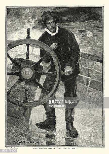 Victorian ship captain at the wheel during a storm