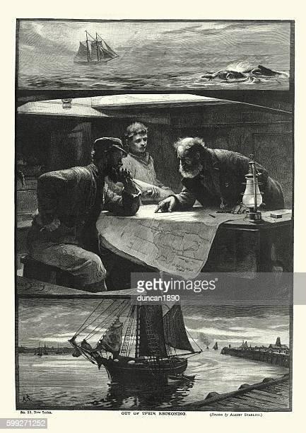 Victorian ships captain and navigator planning their voyage 1894