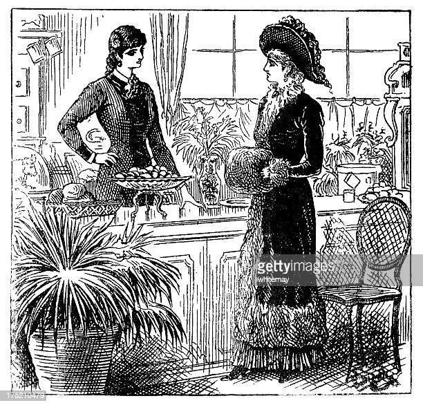 Victorian shopper and shop assistant