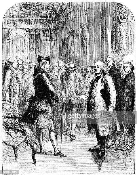victorian sketch of benjamin franklin at the french court - benjamin franklin stock illustrations, clip art, cartoons, & icons