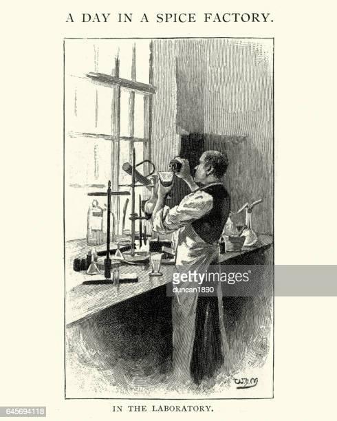 ビクトリア朝のスパイス工場、化学実験室での作業