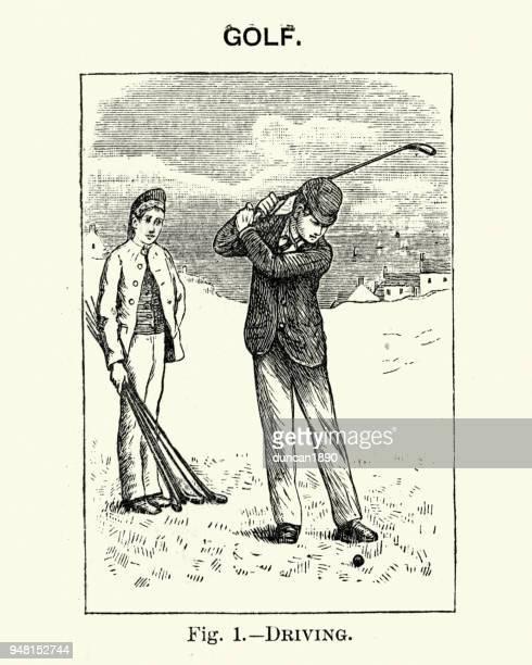 victorian sport, golf, man driving a ball - drive ball sports stock illustrations, clip art, cartoons, & icons
