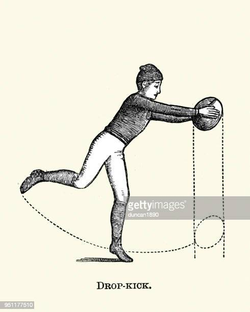 victorian sport, rugby, drop kicking the ball - rugby league stock illustrations