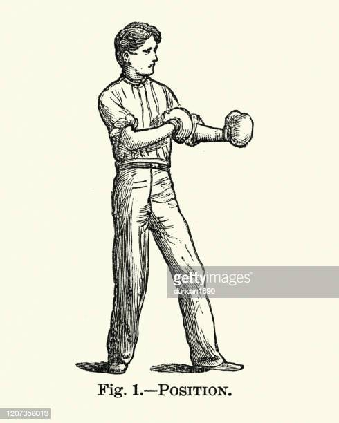 victorian sports, boxing, man wearing boxing gloves - graphic print stock illustrations