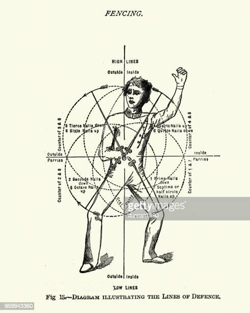 victorian sports, fencing, lines of defence - combat sport stock illustrations