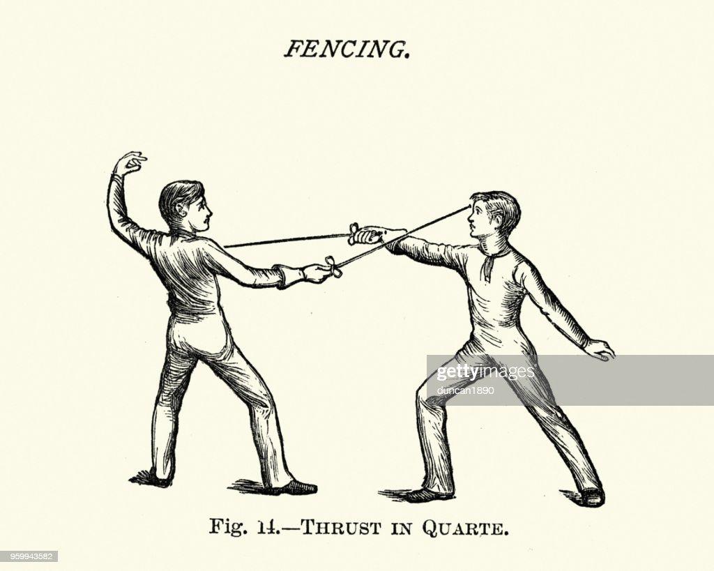 Viktorianische Sport, Fechten, stieß in der Gentechnik : Stock-Illustration