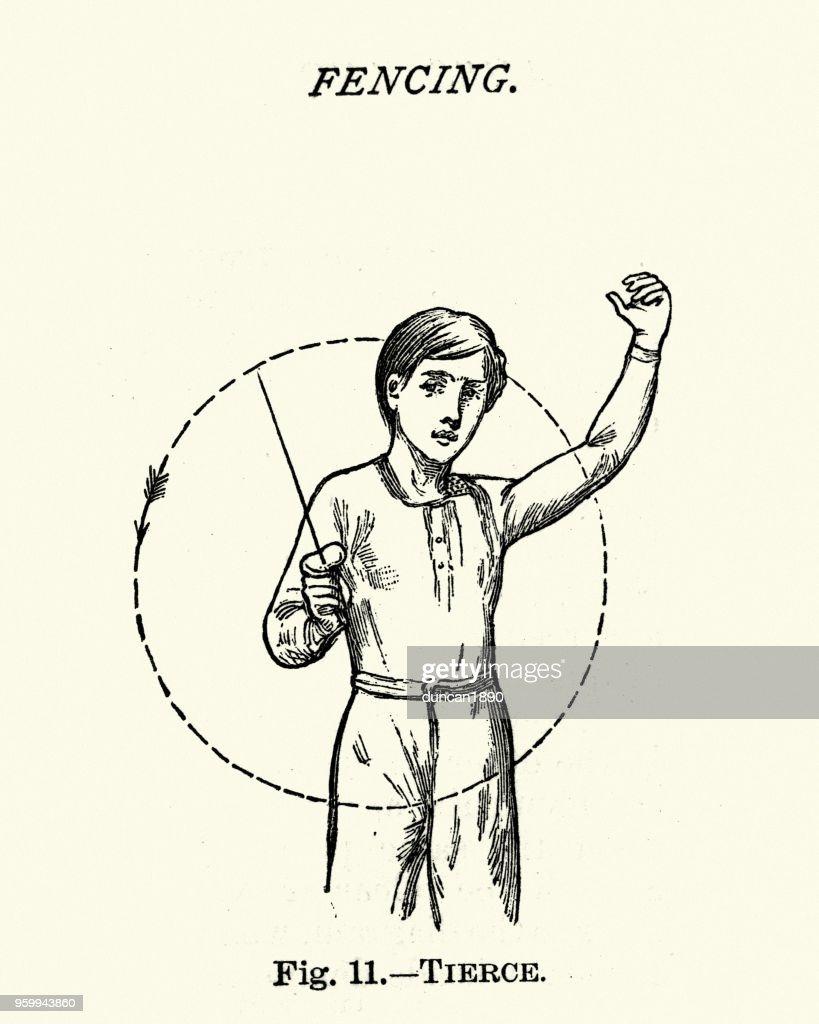 Victorian sports, Fencing, Tierce : Stock Illustration