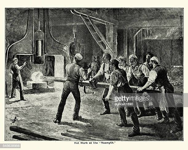 victorian steel mill workers using the steam hammer - industrial revolution stock illustrations