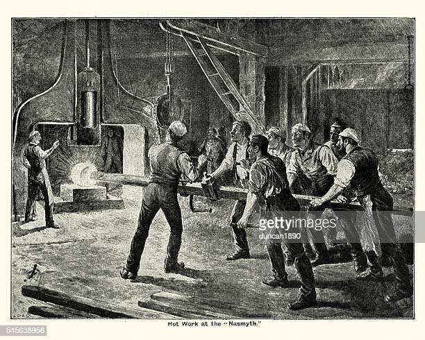 ilustrações, clipart, desenhos animados e ícones de victorian steel mill workers using the steam hammer - século xix