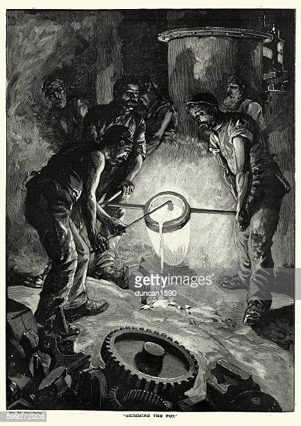Victorian steel workers skimming the pot