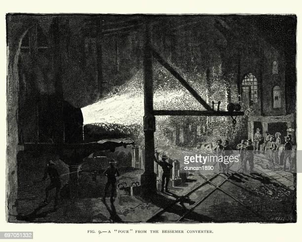Victorian steel works, Our from a Bessemer converter
