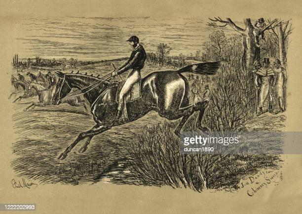 stockillustraties, clipart, cartoons en iconen met victoriaanse steeplechase paardenrace, jim dandy en schoorsteenveger, 19e eeuw - military