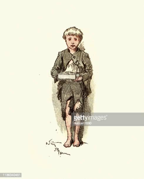 Victorian street child selling matchbooks, East London, 19th Century
