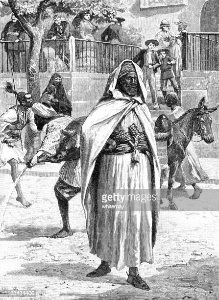 victorian street scene in cairo with european visitors - north african ethnicity stock illustrations, clip art, cartoons, & icons