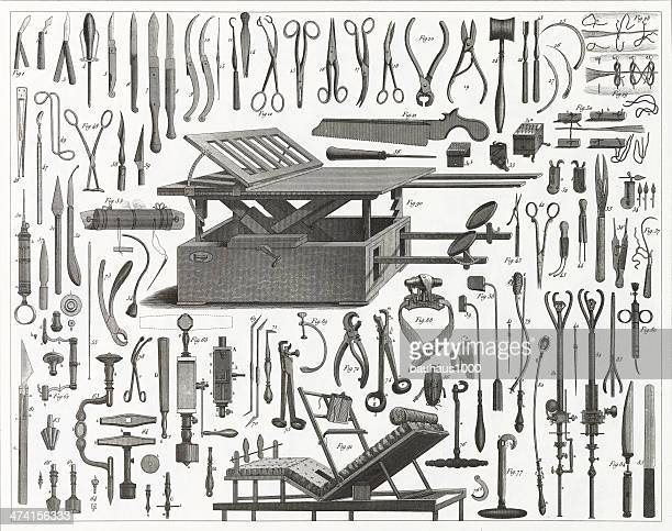victorian surgical equipment - hammer stock illustrations