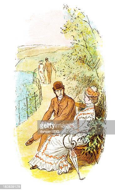 victorian sweethearts - flirting stock illustrations, clip art, cartoons, & icons