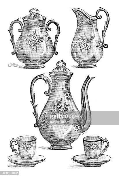 victorian tea set - saucer stock illustrations
