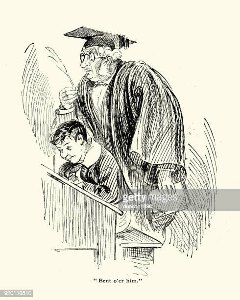 Victorian teacher looking over a students shoulder, 19th Century