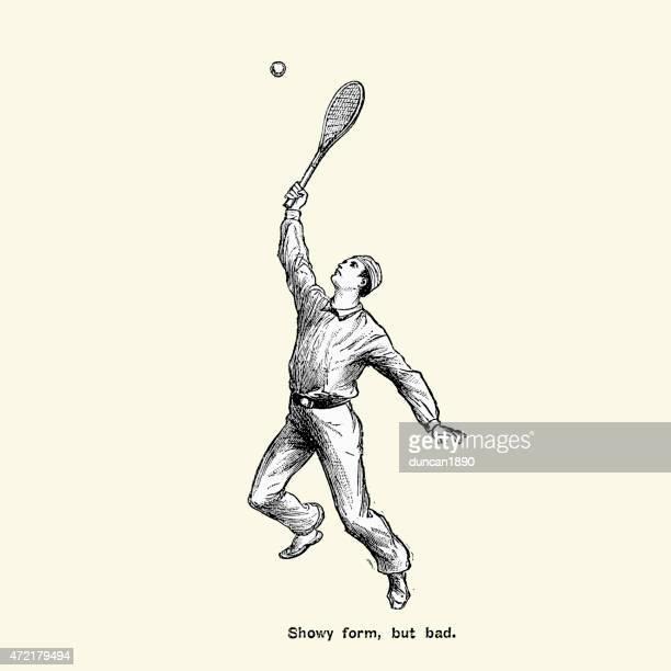 illustrazioni stock, clip art, cartoni animati e icone di tendenza di victorian giocatore di tennis-showy modulo, ma pessima - tennis
