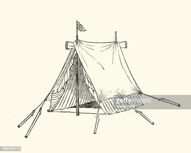 victorian tent, 19th century - tent stock illustrations, clip art, cartoons, & icons
