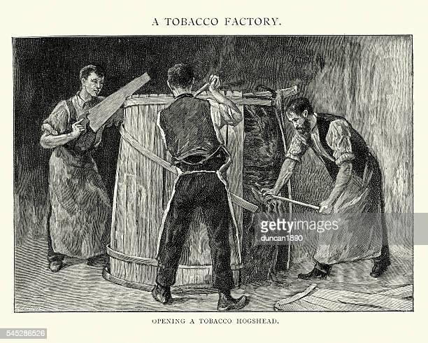 victorian tobacco factory men opening a hogshead barrel - tobacco crop stock illustrations, clip art, cartoons, & icons