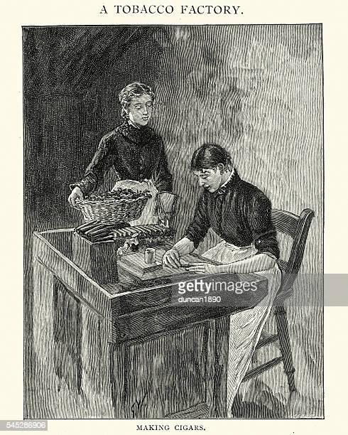 victorian tobacco factory women making cigars - tobacco crop stock illustrations, clip art, cartoons, & icons