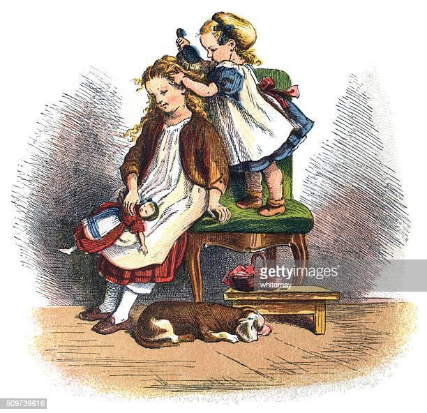 illustrations, cliparts, dessins animés et icônes de bébé victorienne sa grande sœur brossage de cheveux - coiffeur humour