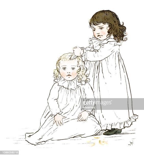 illustrations, cliparts, dessins animés et icônes de enfant en bas âge victorien coupe les cheveux de l'enfant un autre - coiffeur humour