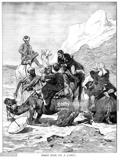 victorian tourists' first attempt at camel riding - morocco stock illustrations, clip art, cartoons, & icons