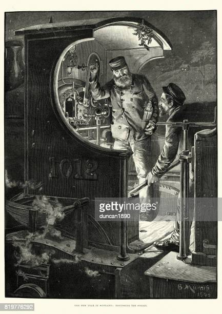 victorian train driver and stoker, scotland 1891 - stoking stock illustrations