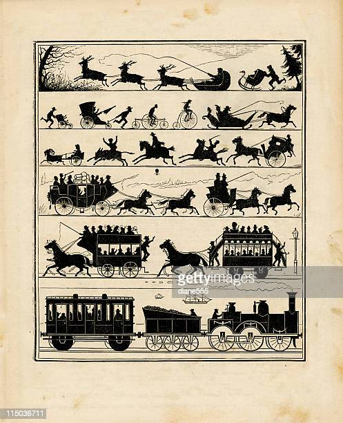 victorian transportation silhouettes - horsedrawn stock illustrations, clip art, cartoons, & icons