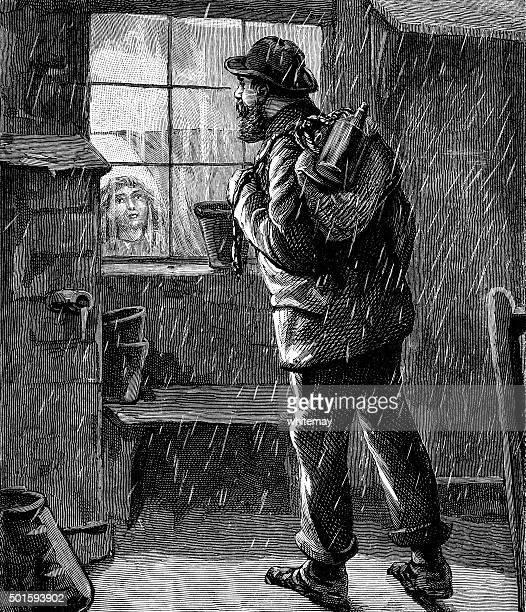 Victorian viajeros que buscan en una casa ventana