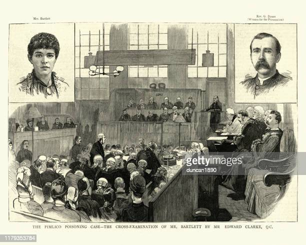 ilustrações de stock, clip art, desenhos animados e ícones de victorian trial, cross examination, pimlico poisoning mystery, 1886 - crime or recreational drug or prison or legal trial