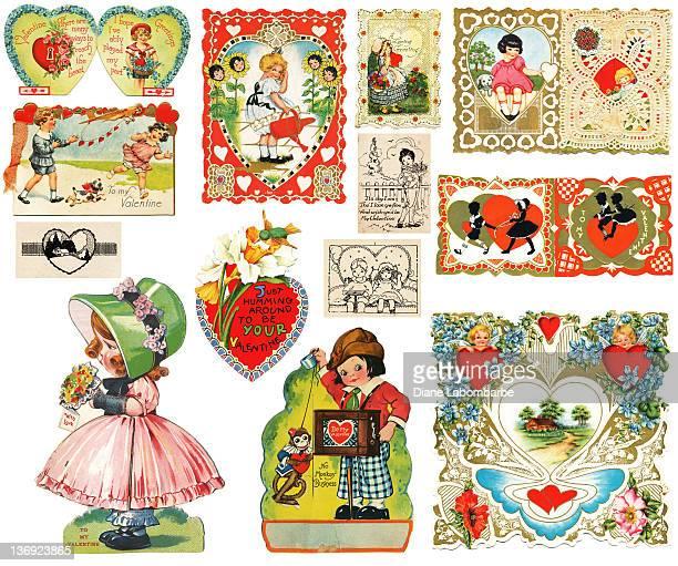 victorian valentines - valentine card stock illustrations
