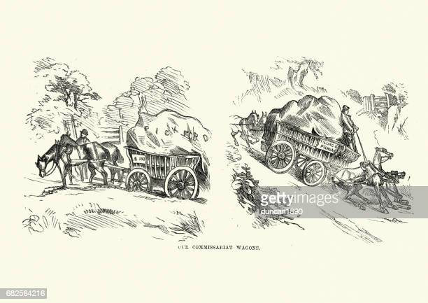 victorian wagon transporting goods, 19th century - horsedrawn stock illustrations, clip art, cartoons, & icons