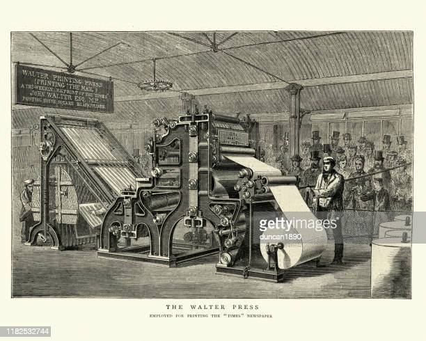 victorian walter printing press, 1870s, 19th century - industrial revolution stock illustrations